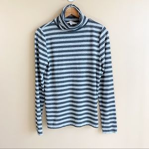 LOFT metallic stripe mock neck top turtleneck shirt log sleeve size large